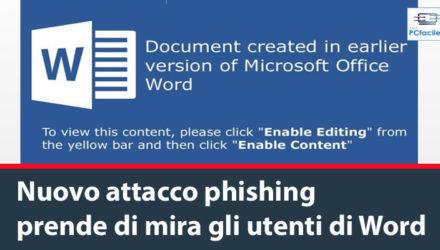 Il malware MineBridge tramite Word Una nuova campagna di phishing sta diffondendo un nuovo pericoloso malware denominato MineBridge che prende di mira gli utenti di Word. Nello specifico i documenti Word (immagine in alto) contenuti nelle email di spam una volta aperti e aver cliccato sui pulsanti per modificare o abilitare il contenuto sono in grado di scaricare il malware tramite una macro che utilizza il comando finger.exe fornendo l'accesso completo al PC dei malcapitati. Come sempre il consiglio rimane sempre quello di fare attenzione alle e-mail sospette, e più in generale di non cliccare su link insoliti o scaricare e aprire file di dubbia provenienza. Trovate una guida per difendervi dal phishing in quest'altro articolo.