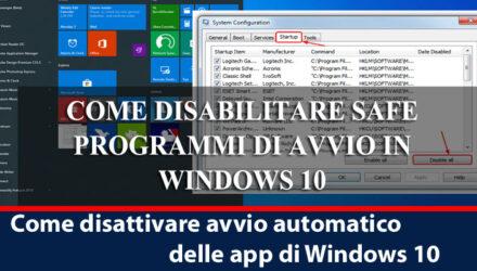 Come disattivare avvio automatico delle app di Windows 10